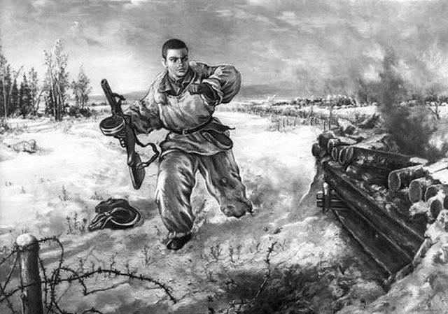 Рисунок с подвигом Александра Матросова